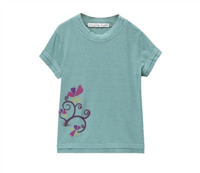 Elise Cool Double Hem Tee with Graphic - Blue Mist