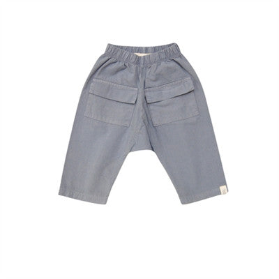 Go Gently Baby - Organic Cotton Boys Cargo Pants - Silver