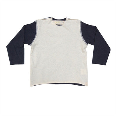 Go Gently Baby - Boys Raw Neck Tee - Navy-Natural