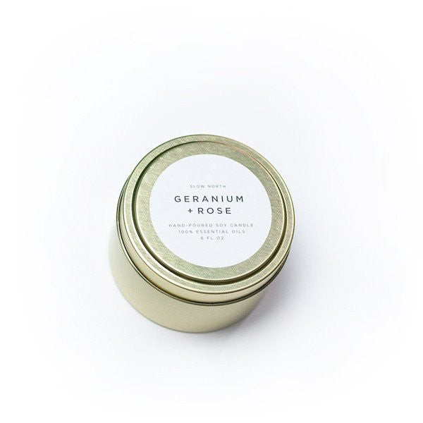 Geranium + Rose Travel Tin Candle