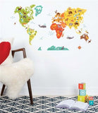 Petit Collage World Map Fabric Wall Decal