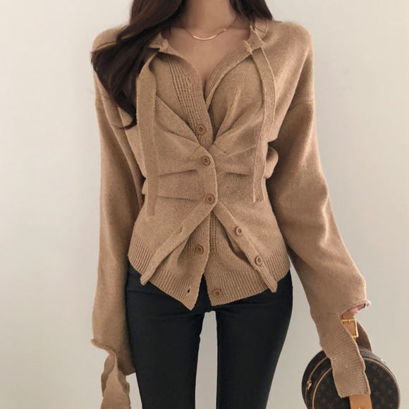 New 2019 Autumn Winter Women's Sweaters Button Asymmetrical Tops Korean Style Knitting Cardigans Ladies Sexy SWC7713