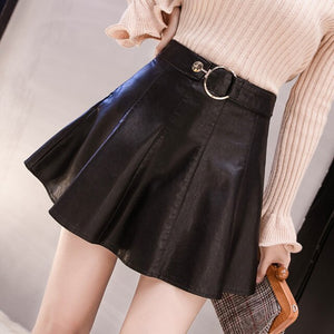 Women's Pu Leather Skirt New Fashion Rivet High Waist A-line Skirt Autumn Winter Irregular Package Hip Mini Short Skirt ML285