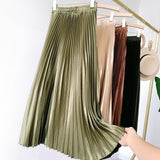 Women's Vintage Pleated Midi Long Satin Skirt Korean Female High Waist Metal Color Black A-line Skirts Faldas 2020 Autumn SK605