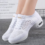 Women's Dance Sneakers Jazz Shoes  White Black Mesh Hip Hop Modern Dancing Shoe Ladies Girl's Outdoor Sports Casual Shoes Female