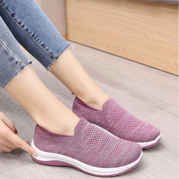 Spring Knitting Women's Vulcanized Shoes Ladies Sneakers Slip on Mesh Breathable Female Flats Woman Loafers Walking Shoes