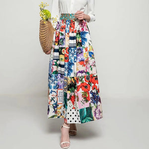 Svoryxiu 2021 New Runway Designer Summer Maxi Skirt Women's Elegant Color Matching Flower Print Bohemian Long Skirt Female