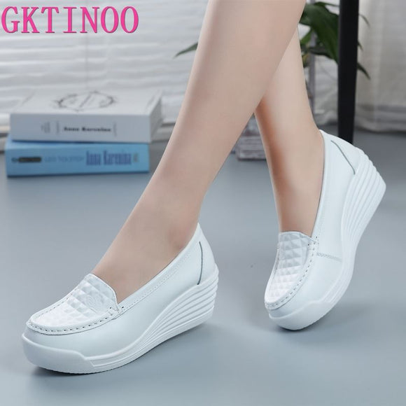 GKTINOO New Women's Genuine Leather Sneakers Platform Shoes Wedges White Lady Casual Shoes Swing mother Shoes Size 34-40
