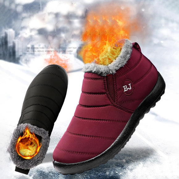 2020 men's and women's fashion warm boots Outdoor waterproof boots Couples plus fleece warm flat shoes Lightweight casual shoes