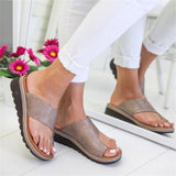 New Women's Casual Slippers Summer Solid Flat Sole Comfortable Big Toe Foot Ladies Beach Sandals Platform Orthopedic Shoes 34-43