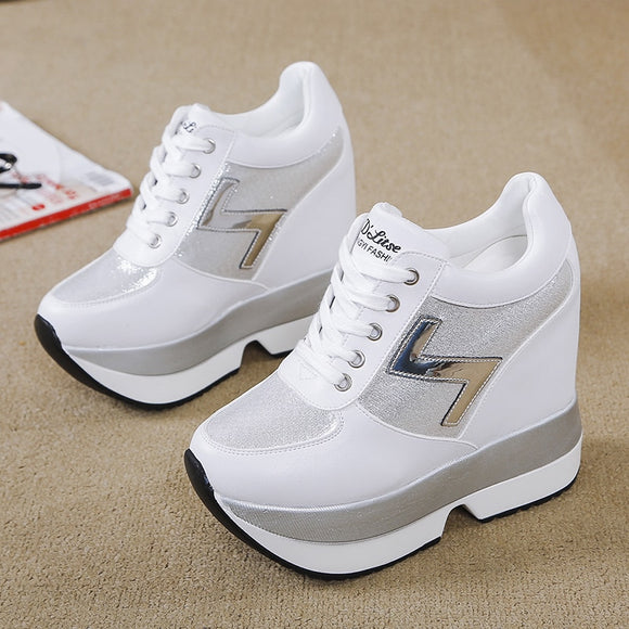 2020Fashion Women's High Platform Casual Shoes Height Increasi leathe Shoes 10 CM Thick Sole Trainers Lady Shoes White Sneakers