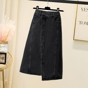 Jeans Denim Black Irregular Female Plus Large Size Korean Style Oversized Vintage High-Waisted Women'S Skirts Clothes Lady D0438