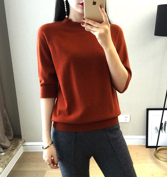New Style Women's Knitted Cashmere Half Sleeve Sweater Half High Collar Slim Style Wool Solid Color Pullover Free Shipping