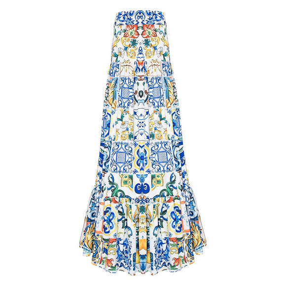 High quality 2021 new fashion summer long skirt Women's elegant blue and white porcelain print bohemian casual Maxi skirt