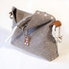 Fold over handbag with Cotton Rope handle.