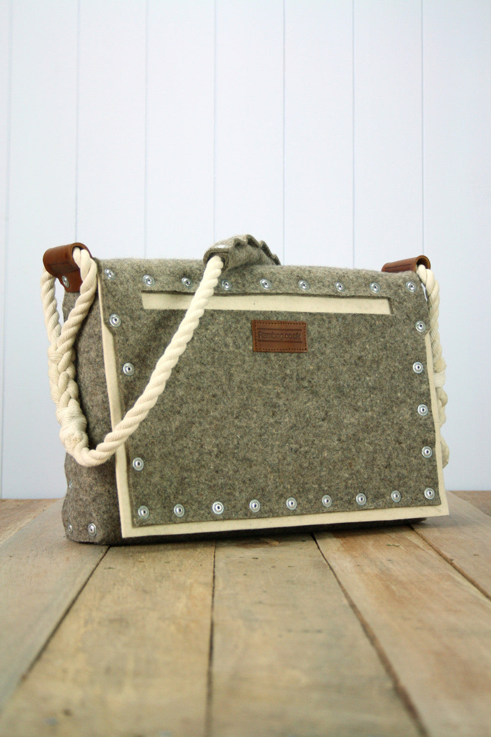 Large white Pocket Satchel