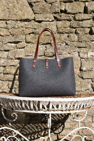 Felt Shoulder Bag, Felt Handbag; Dark Grey Bags & Purses, Shoulder Bags, Handbags, Felt Shoulder Bag