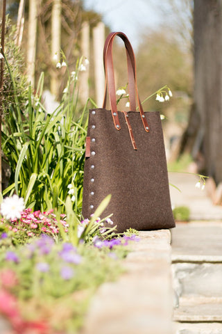 Tote Bag, Shopper Bag, Brown Felt Tote Bag, Brown Felt Shopper, Shoulder Bag, Wool Felt Bag, Felt Shoulder Bag, Carry All Bag