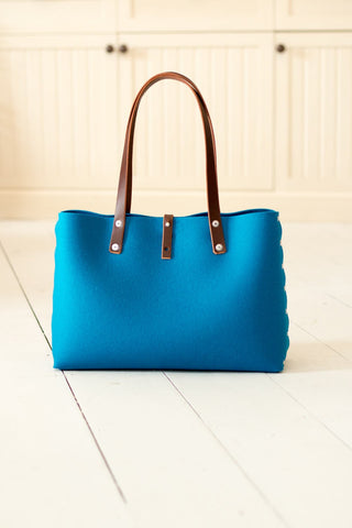 Felt Shoulder Bag, Felt Handbag; Blue Bags & Purses, Shoulder Bags, Handbags, Felt Shoulder Bag