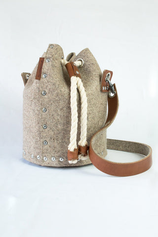 Wool felt bucket bag, Felt Duffle Bag, Duffle Satchel