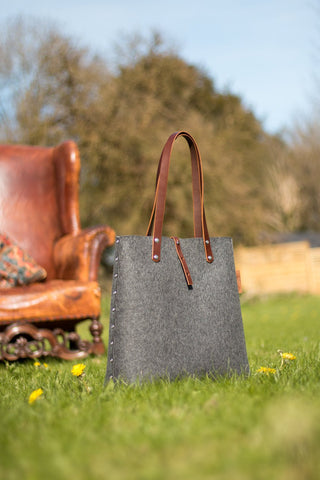 Tote Bag, Shopper Bag, Grey Felt Tote Bag, Grey Felt Shopper, Shoulder Bag, Wool Felt Bag, Felt Shoulder Bag, Carry All Bag
