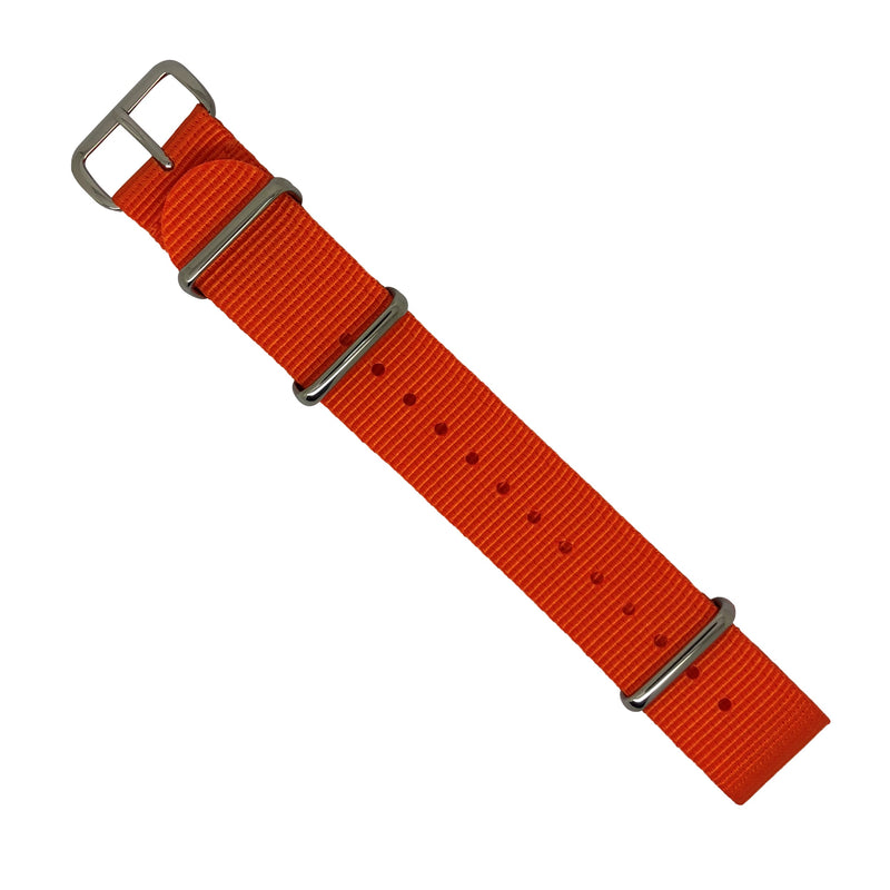 Premium Nato Strap in Orange with Polished Silver Buckle (20mm) - Nomad watch Works