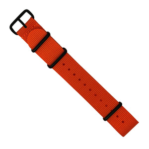 Premium Nato Strap in Orange with PVD Black Buckle (20mm) - Nomad watch Works