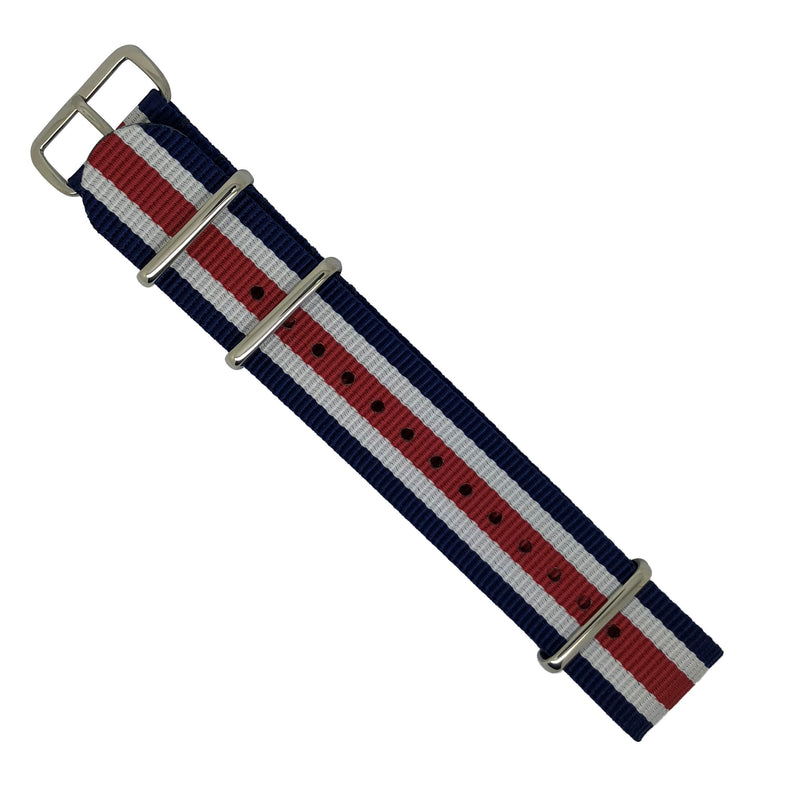 Premium Nato Strap in Regimental with Polished Silver Buckle (22mm) - Nomad watch Works