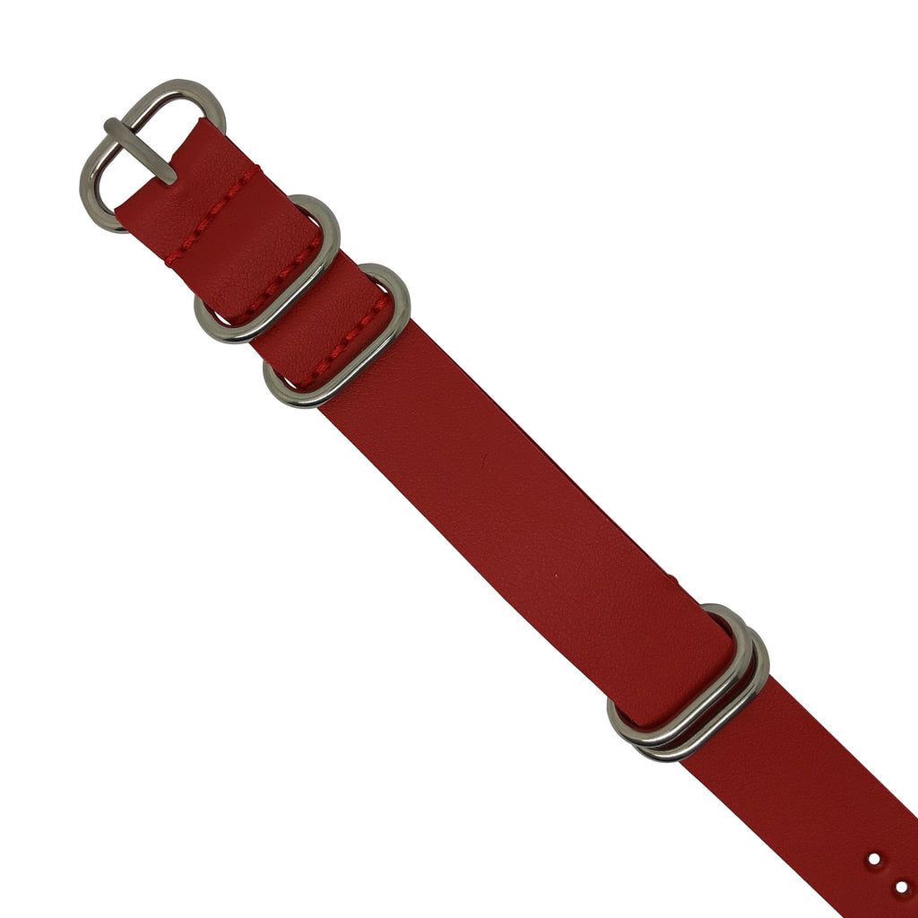PU Leather Zulu Strap in Red with Silver Buckle (20mm)