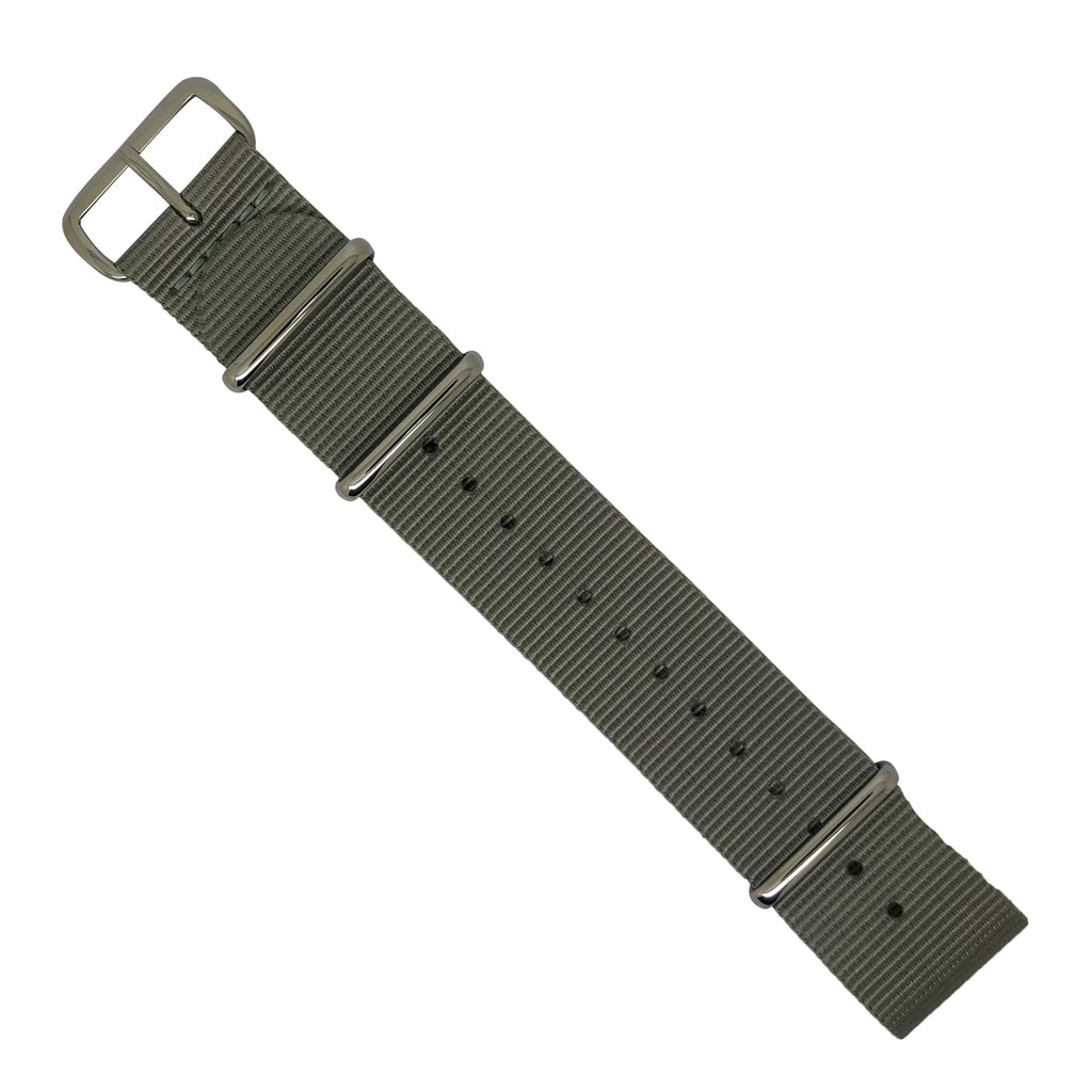 Premium Nato Strap in Grey with Polished Silver Buckle (24mm)