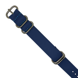PU Leather Zulu Strap in Blue with Silver Buckle (24mm) - Nomad watch Works