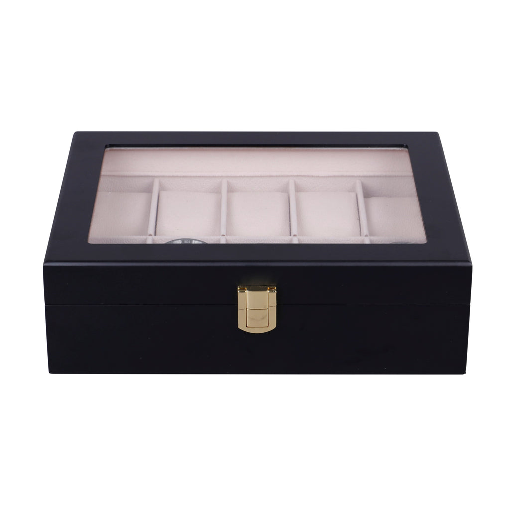 Wooden Watch Box in Black (10 Watch Slots)