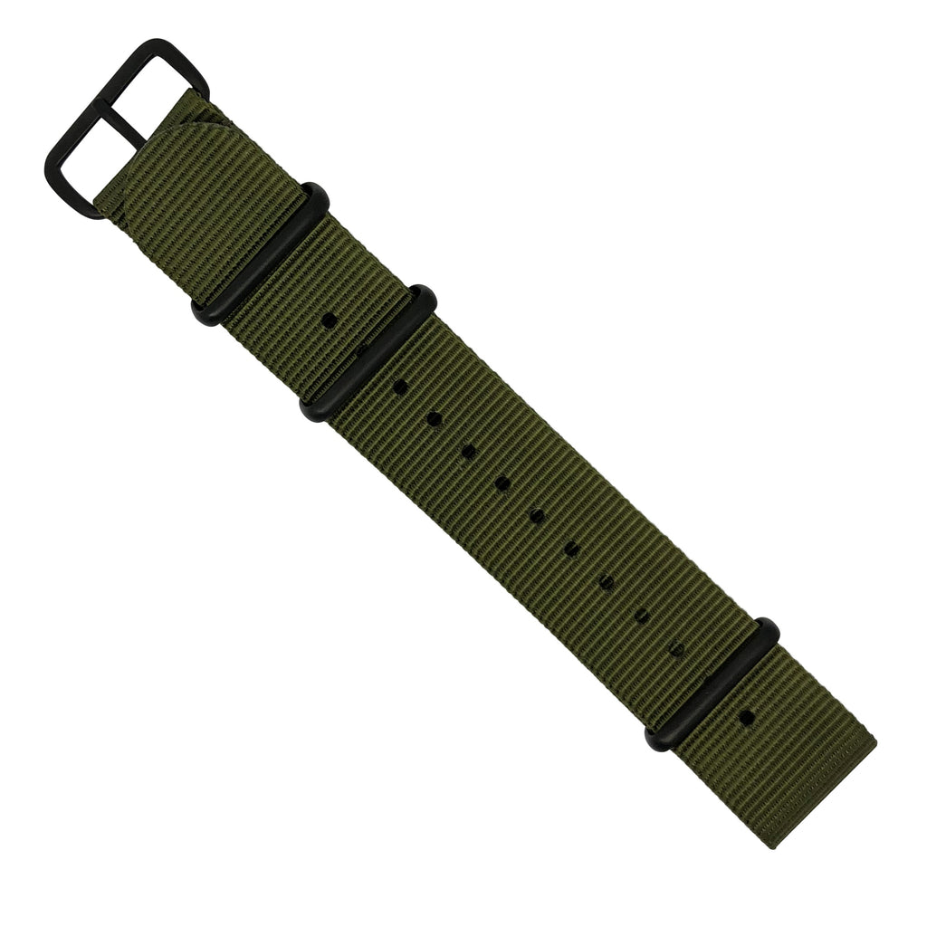 Premium Nato Strap in Olive with PVD Black Buckle (24mm)