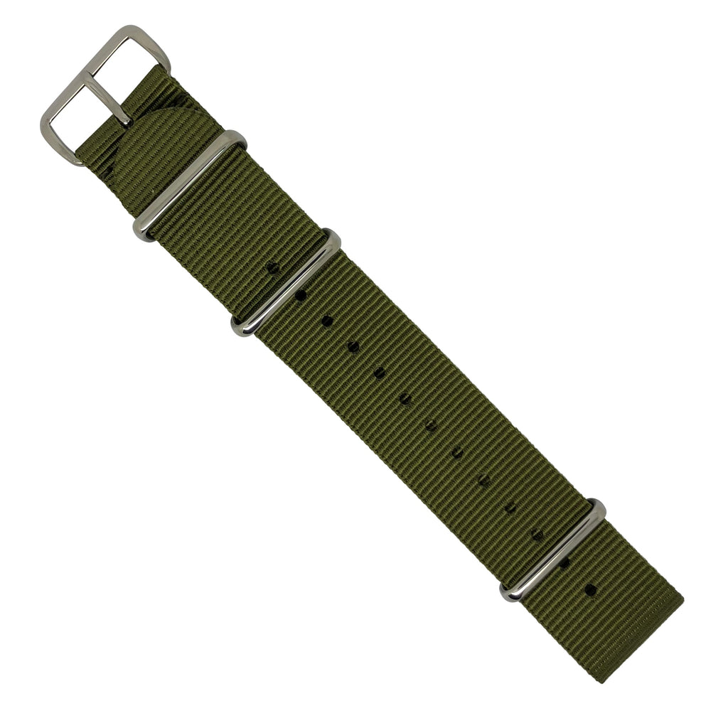 Premium Nato Strap in Olive with Polished Silver Buckle (24mm)