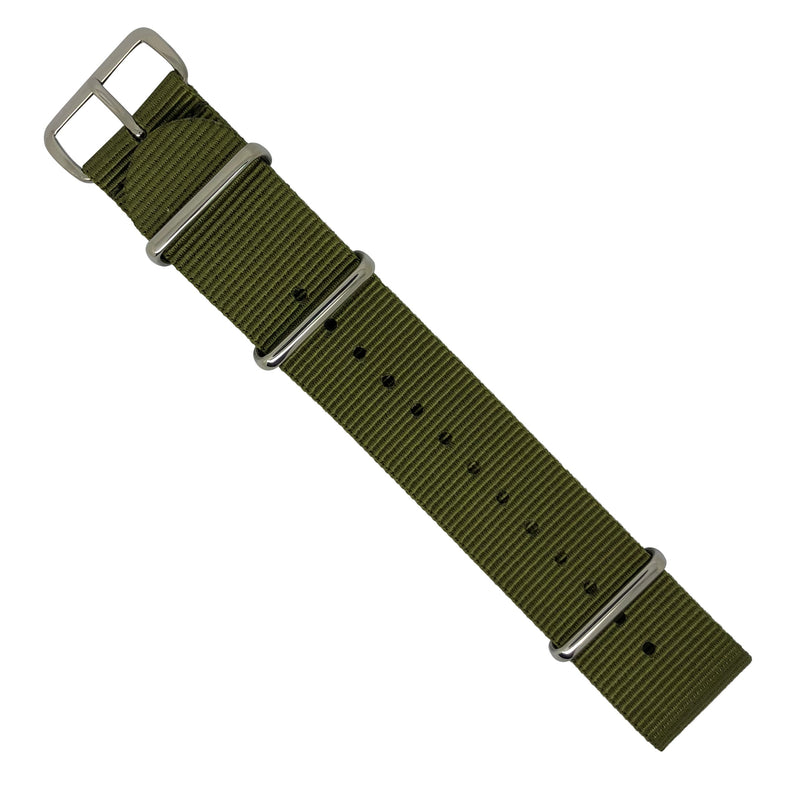 Premium Nato Strap in Olive with Polished Silver Buckle (24mm) - Nomad watch Works