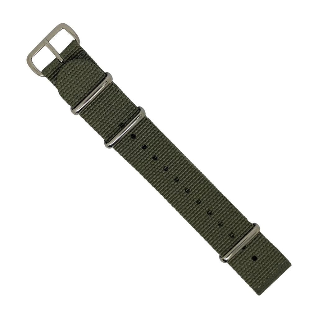 Premium Nato Strap in Grey with Polished Silver Buckle (18mm) - Nomad watch Works