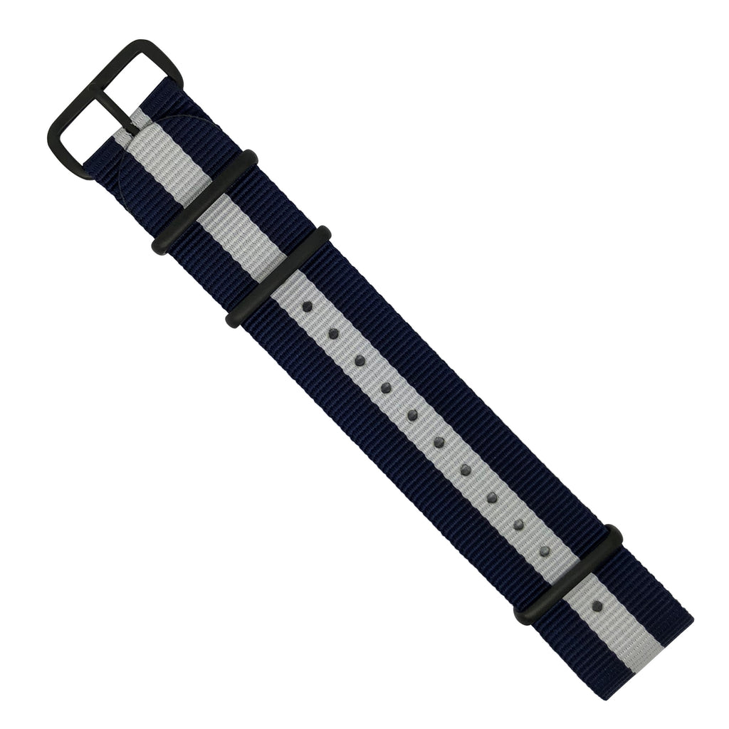 Premium Nato Strap in Navy White with PVD Black Buckle (22mm)