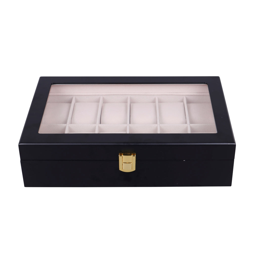 Wooden Watch Box in Black (12 Watch Slots)