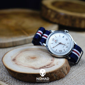 Premium Nato Strap in Navy White Red (Crest) with Polished Silver Buckle (22mm) - Nomad watch Works