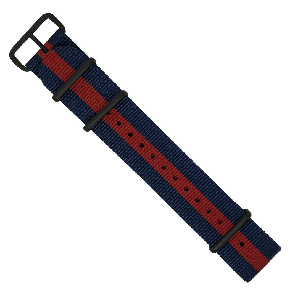Premium Nato Strap in Navy Red with PVD Black Buckle (22mm)