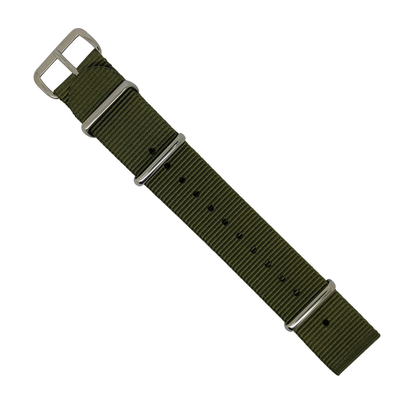 Premium Nato Strap in Olive with Polished Silver Buckle (20mm) - Nomad watch Works