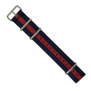 Premium Nato Strap in Navy Red with Polished Silver Buckle (20mm) - Nomad watch Works