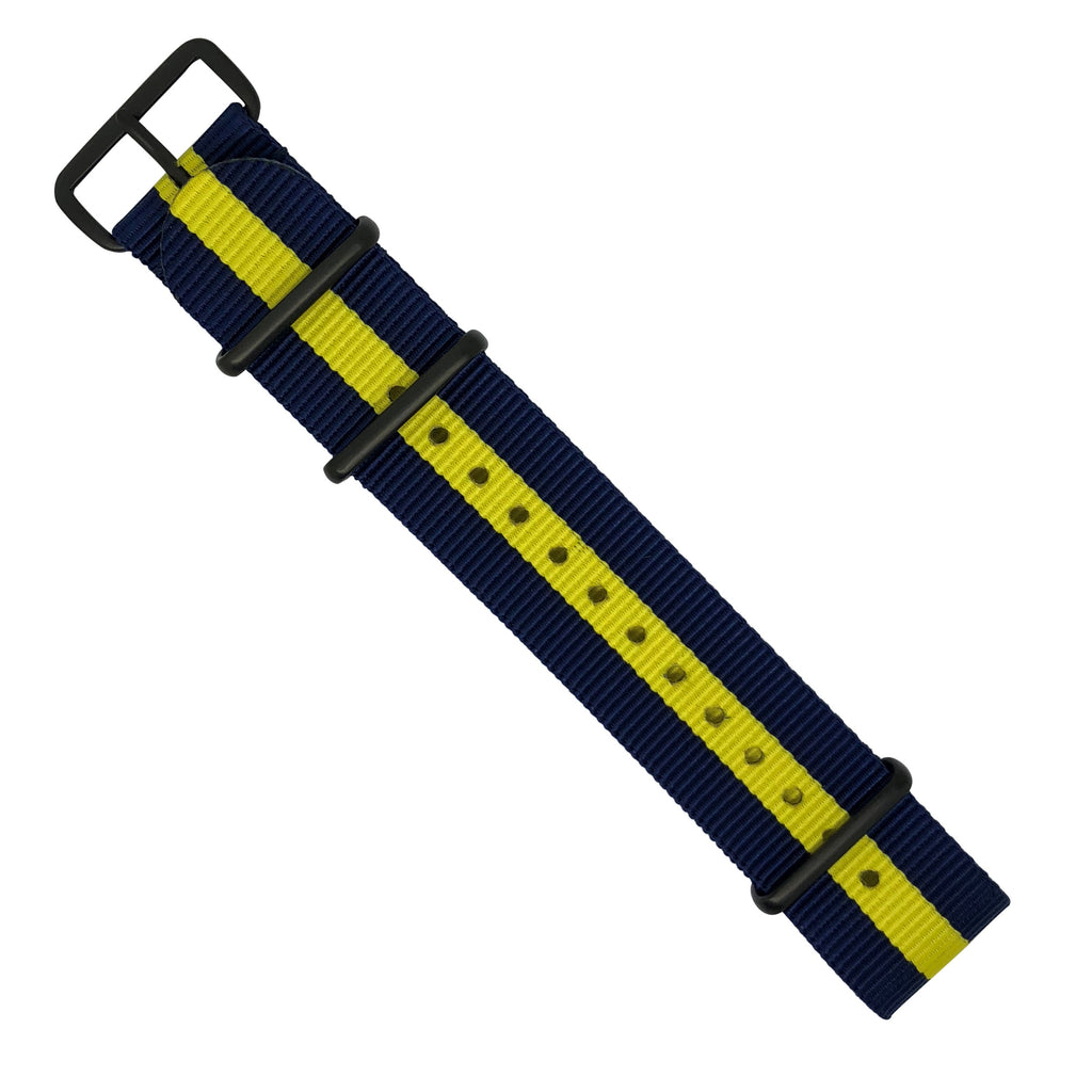 Premium Nato Strap in Navy Yellow with PVD Black Buckle (22mm)