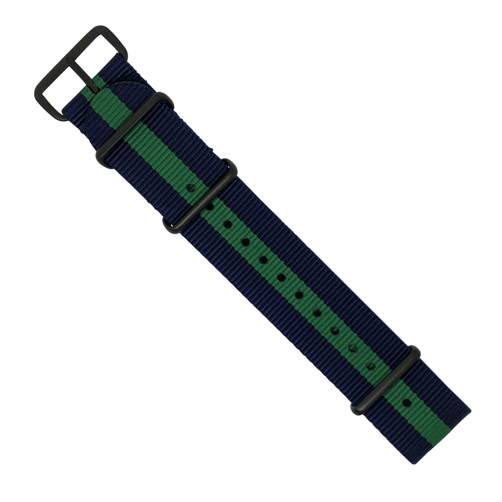 Premium Nato Strap in Navy Green with PVD Black Buckle (22mm)