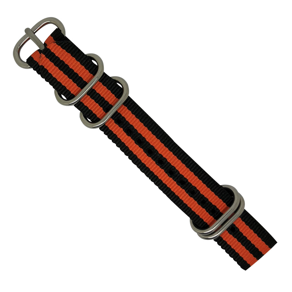 Nylon Zulu Strap in Black Orange Small Stripes with Silver Buckle (24mm) - Nomad watch Works