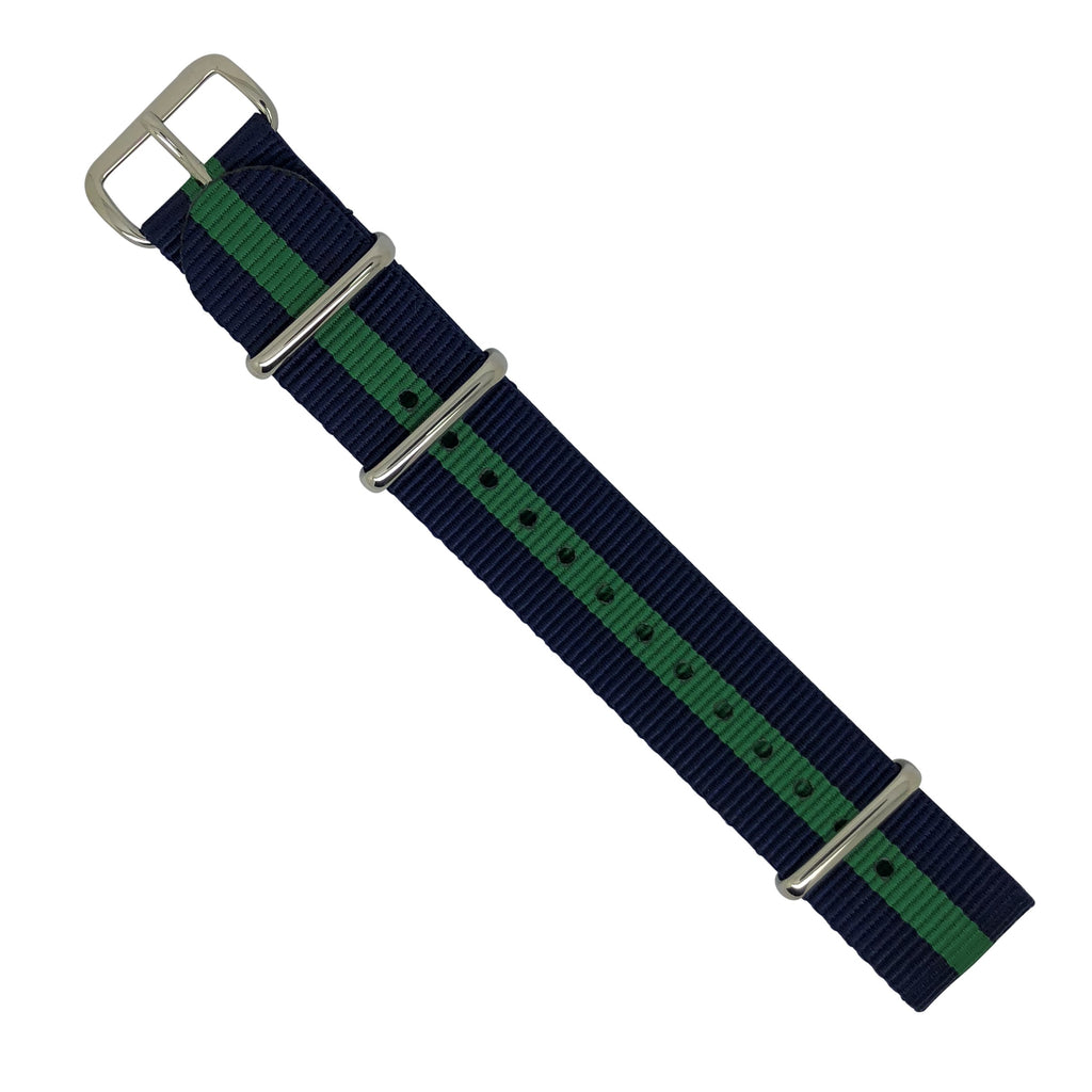 Premium Nato Strap in Navy Green with Polished Silver Buckle (20mm) - Nomadstore Singapore