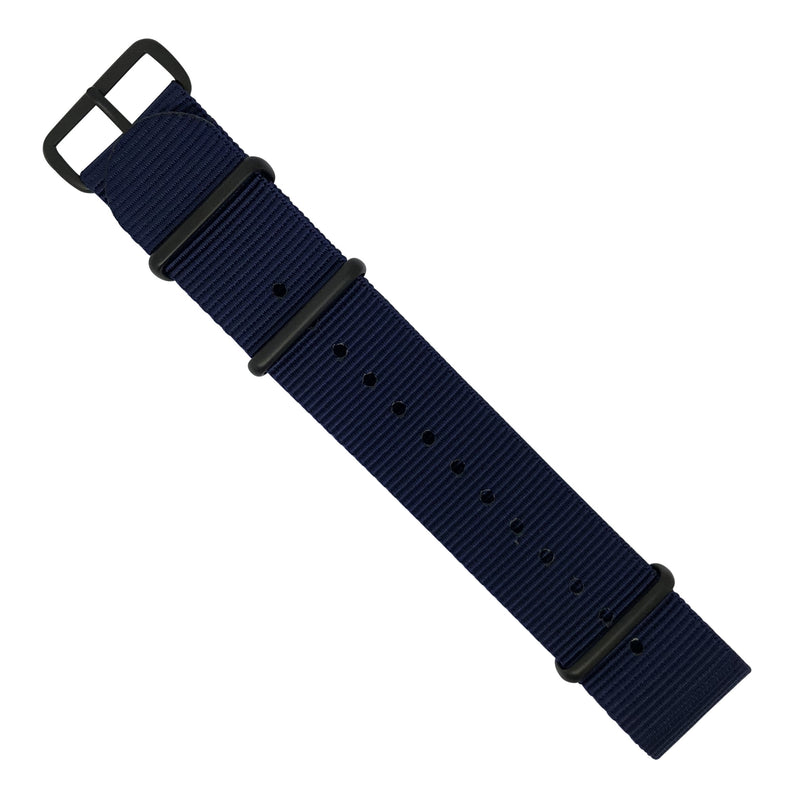 Premium Nato Strap in Navy with PVD Black Buckle (22mm) - Nomad watch Works