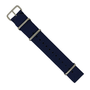 Premium Nato Strap in Navy with Polished Silver Buckle (20mm) - Nomad watch Works
