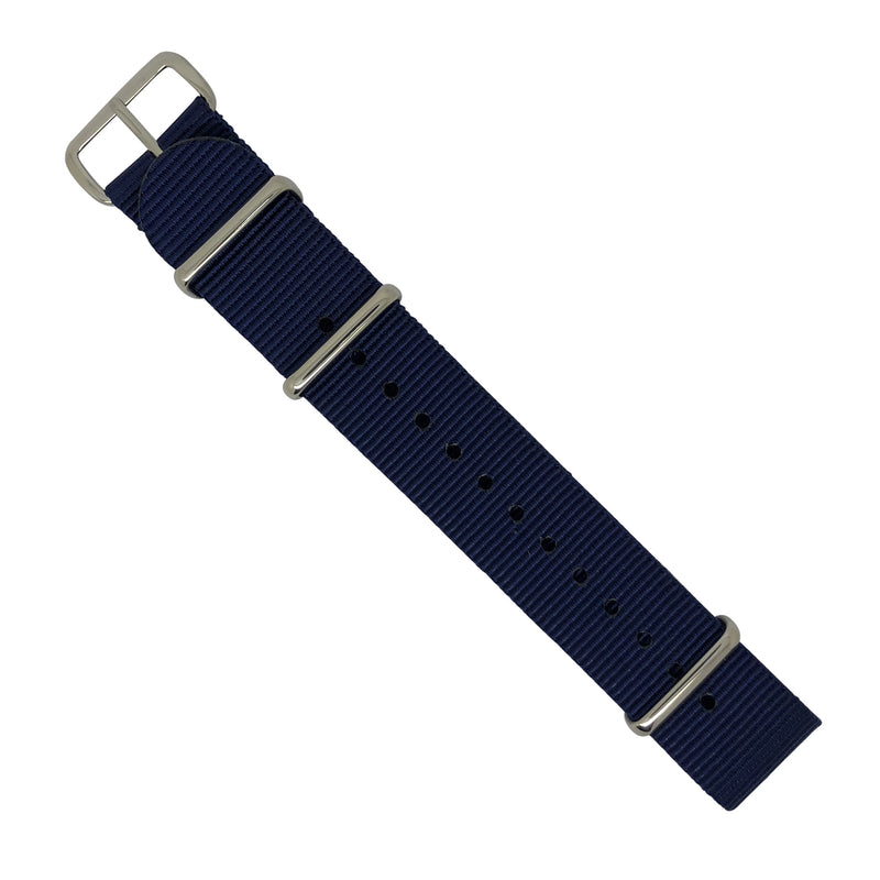 Premium Nato Strap in Navy with Polished Silver Buckle (20mm) - Nomadstore Singapore