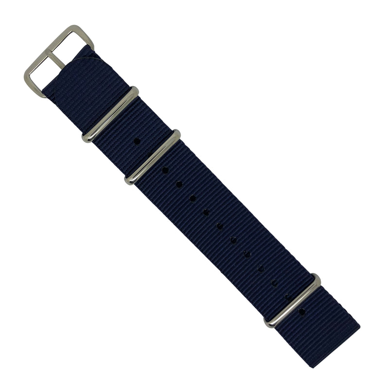 Premium Nato Strap in Navy with Polished Silver Buckle (24mm) - Nomad watch Works